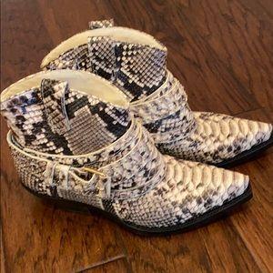 Zimmerman buckled snakeskin booties size 37